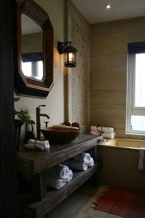 复古东南亚卫生间浴室柜效果图