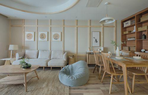 107平日式风格客厅餐厅设计