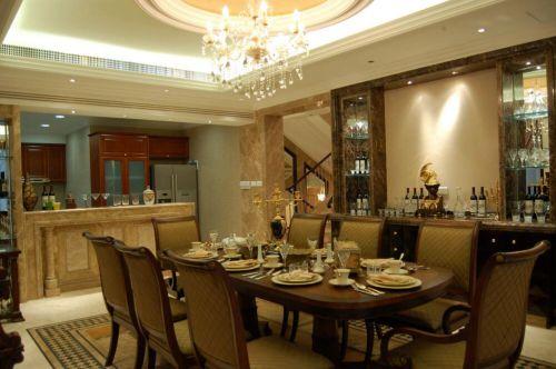 104平新中式风格别墅餐厅吧台设计
