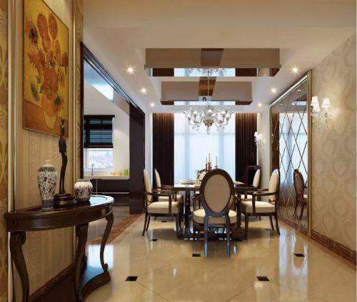 欧式装修风格餐厅窗帘图片