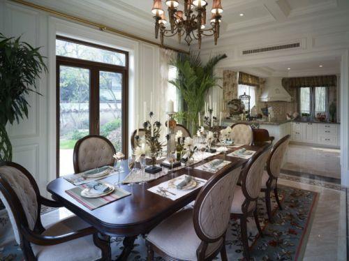 美式风格室内餐厅餐桌灯饰效果图
