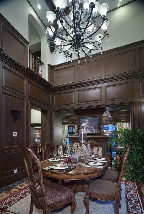 美式田园风格餐厅餐桌吊灯装饰图片