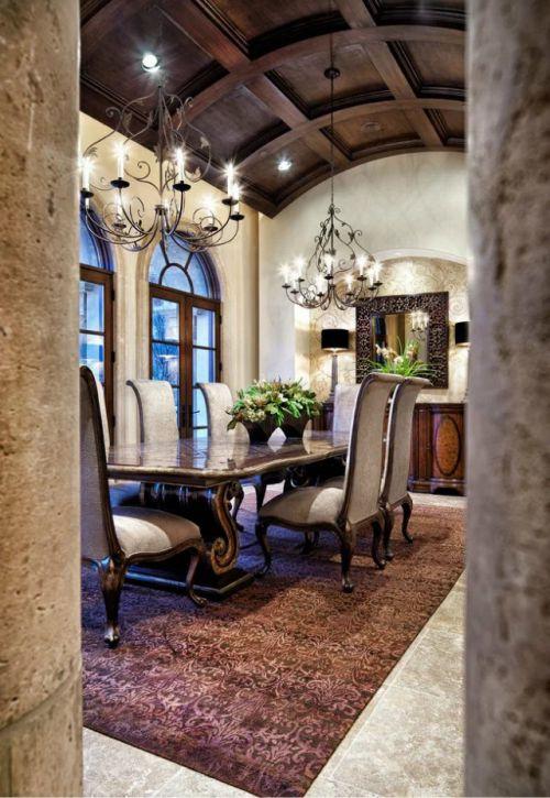 美式风格餐厅吊灯餐桌图片设计欣赏