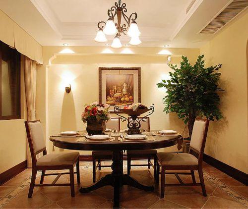美式风格餐厅餐桌吊灯软装设计