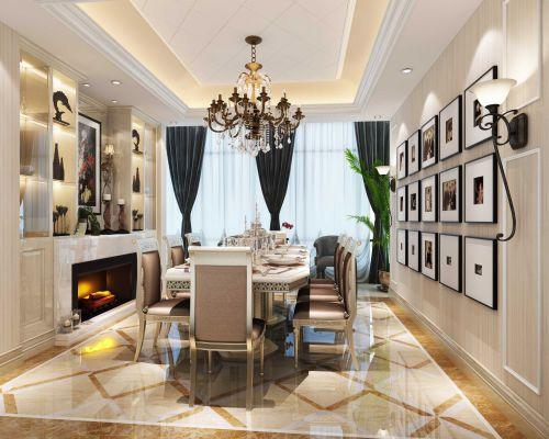欧式时尚餐厅照片墙效果图