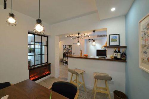 80平米三室简欧风格餐厅吧台装修效果图
