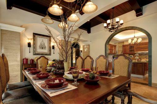 美式风格餐厅餐桌灯饰装修设计