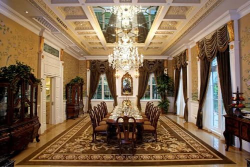 美式风格豪华餐厅吊灯装饰效果图