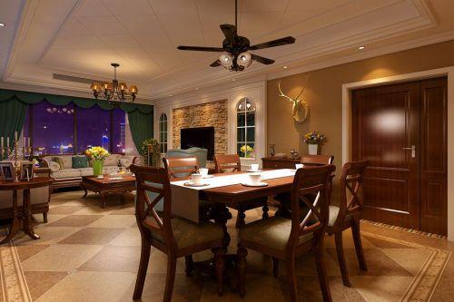 108平美式风格客厅餐厅装修设计