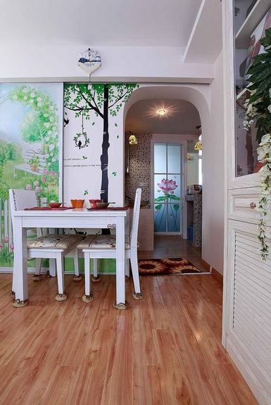 60平米甜美田园气息室内餐厅餐桌图片