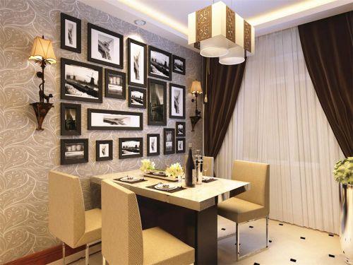 远洋城混搭风格餐厅照片墙设计