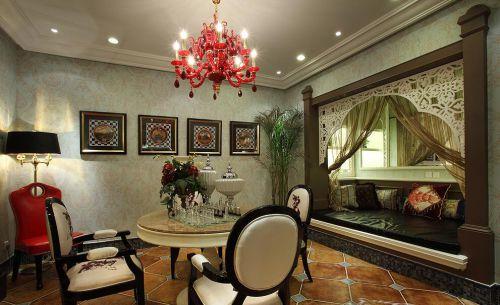 美式地中海风格餐厅客厅隔断设计