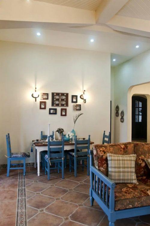 美式地中海餐厅照片墙效果图
