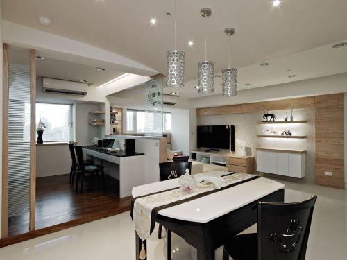 75平米舒适混搭风格二居室餐厅吊顶装修效果图