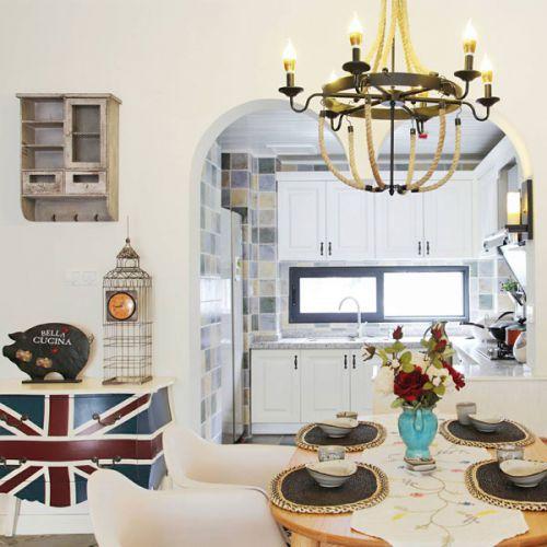 小清新地中海风格四居室餐厅餐桌效果图