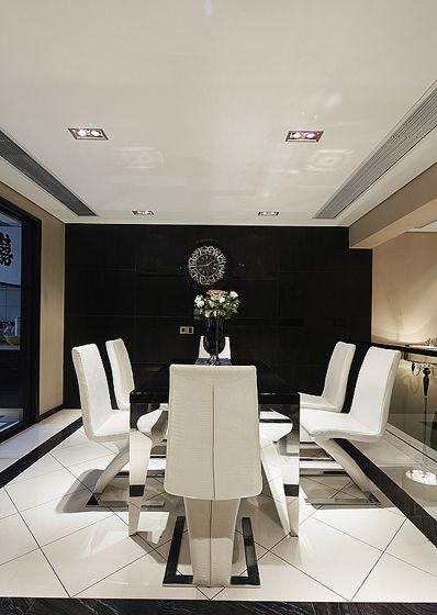 黑白画映新古典风格餐厅效果图