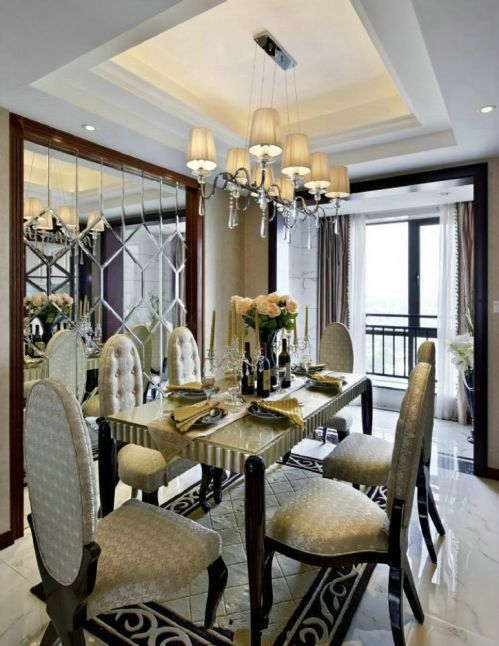 欧式新古典餐厅吊顶效果图