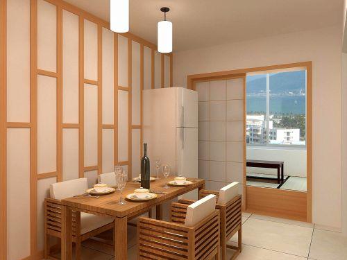 日式极简风格餐厅效果图