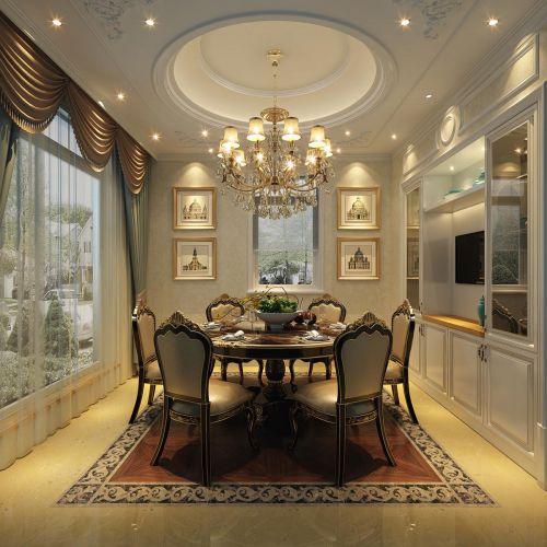 简欧风格别墅餐厅水晶吊灯设计