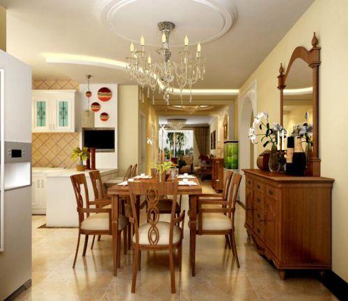 97平简欧风格两居室设计餐厅效果图
