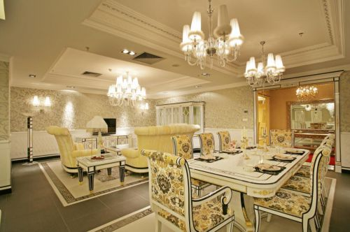 126平中式家装风格餐厅客厅装修设计