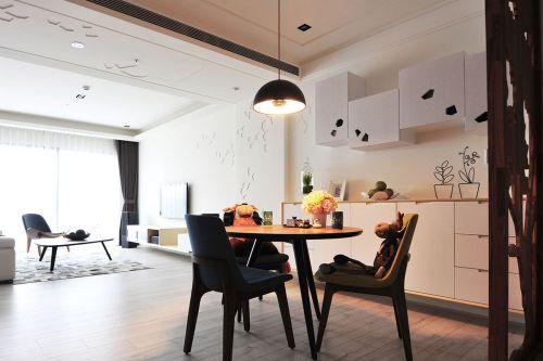 119平米北欧风情三室两厅餐厅背景墙装修图片