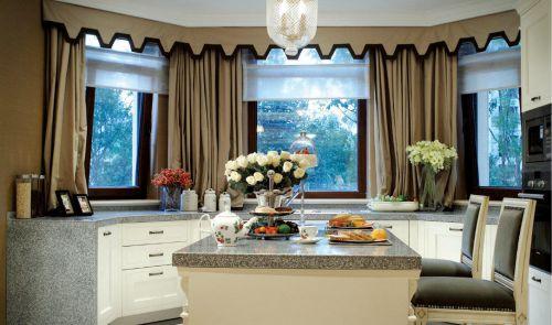 美式风格开放式厨房整体橱柜吧台装修