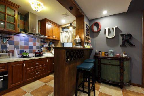 美式厨房吧台装修效果图