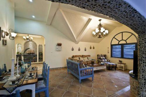 美式地中海厨房客厅设计图片