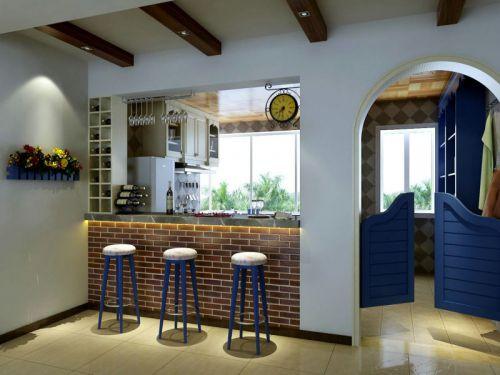 80平米温馨地中海风格厨房吧台装修图片