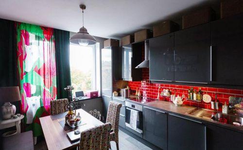 38平米混搭家居开放式厨房设计效果图