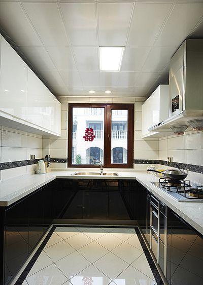 黑白画映新古典风格厨房效果图
