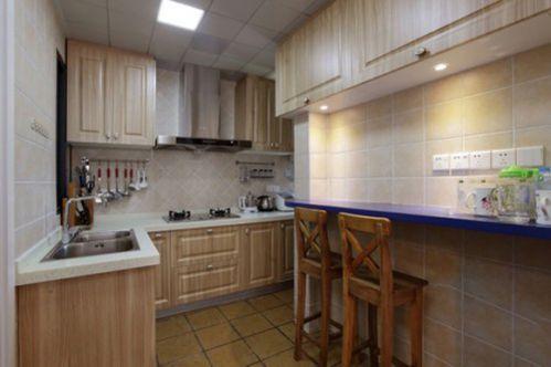 72平清爽地中海混搭美式厨房装修设计