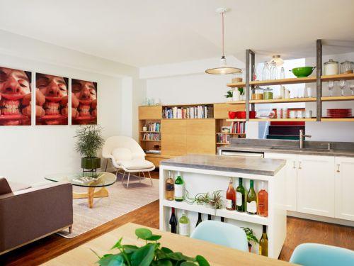 86平米混搭风格复式厨房背景墙设计