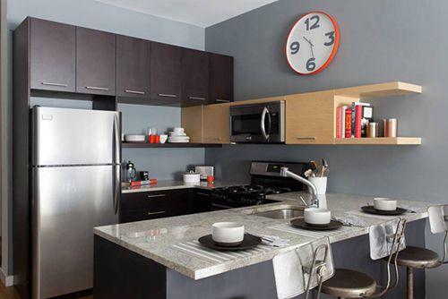 56平米时尚混搭风格小户型厨房背景墙图片