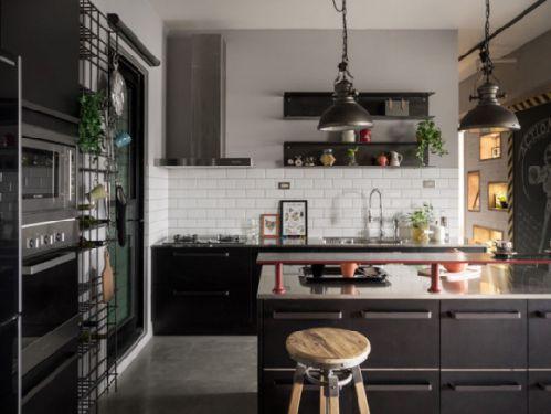 时尚混搭厨房效果图片