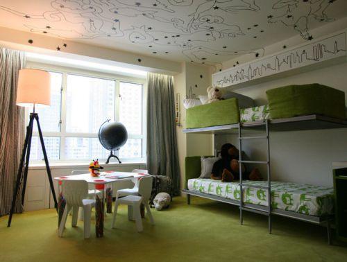 混搭风格绿色儿童房图片
