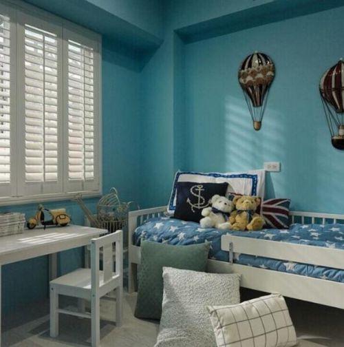 120平蓝白地中海风格儿童房卧室图片