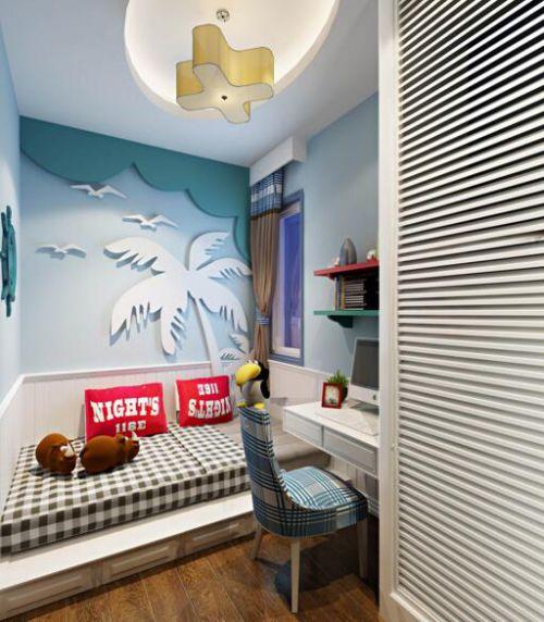 94平地中海风格儿童房卧室效果图展示