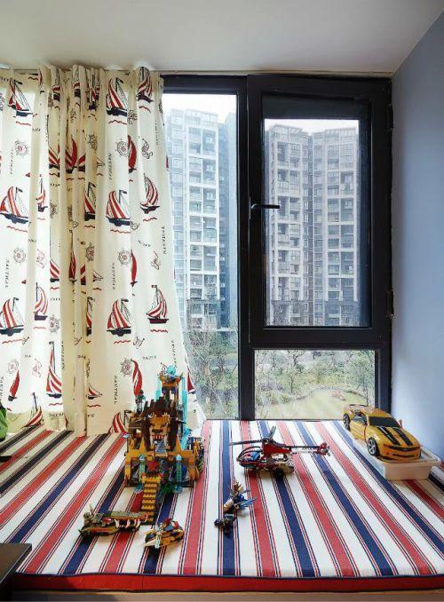 美式儿童房飘窗窗帘图片