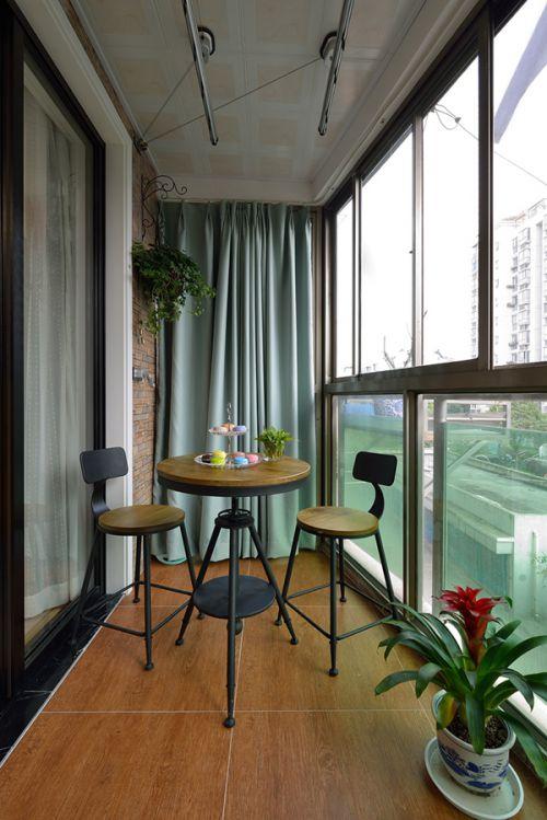 110平米混搭婚房半开放式阳台设计