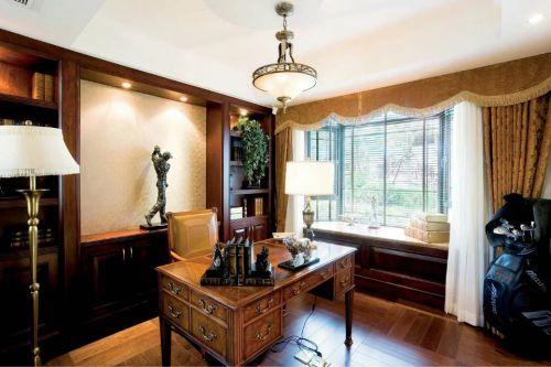 美式风格书房窗帘设计样板欣赏