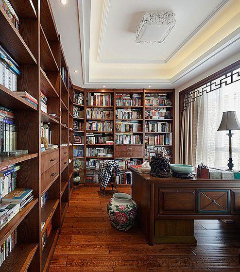 中式大气书房效果图