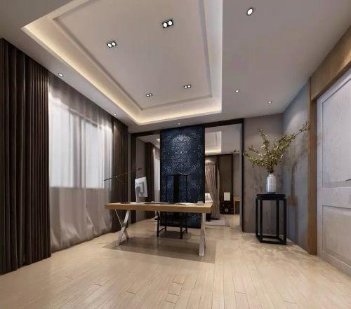 中式三居室装修书房吊顶设计