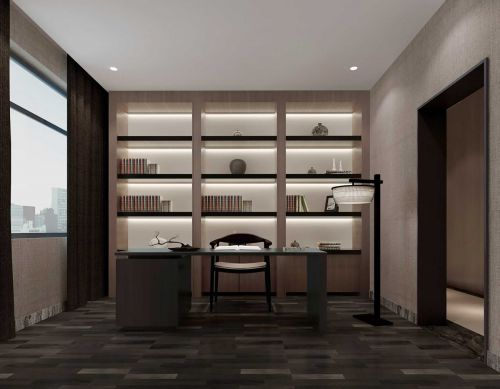 89平米时尚中式风格书房书柜设计