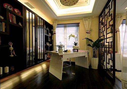 中式花园别墅书房装修图片