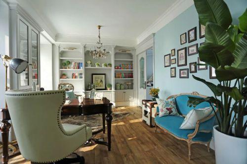 书房书柜照片墙装修效果图设计