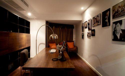 128平精致美式风格书房照片墙效果图