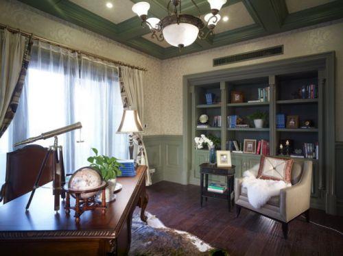 美式风格书房窗帘设计图片案例