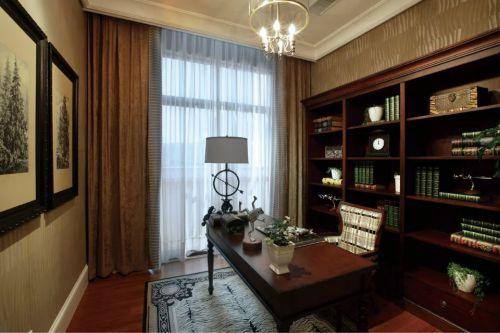 美式风格书房书柜窗帘装修图片